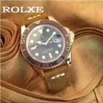 ROLEX-047-01 勞力士新款瑞機水鬼系列進口磨砂牛皮復古手表