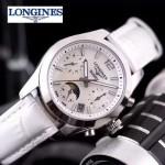 Longines-91-20 歐美百搭闪亮银配白色皮帶款進口石英腕錶