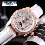 Longines-91-15 歐美百搭間玫瑰金系列白色鑲鑽皮帶款進口石英腕錶