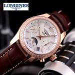 Longines-91-13 歐美百搭間玫瑰金系列褐色鑲鑽皮帶款進口石英腕錶