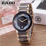 RADO-0118 潮流百搭情侶款黑色陶瓷配土豪金進口石英腕錶
