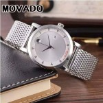 MOVADO-058 潮流商務男士兩針半閃亮銀白底316精鋼錶殼進口石英腕錶