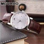MOVADO-058-5 潮流商務男士兩針半閃亮銀白底316精鋼錶殼進口石英腕錶