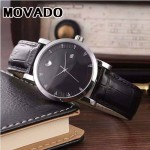MOVADO-058-6 潮流商務男士兩針半閃亮銀黑底316精鋼錶殼進口石英腕錶