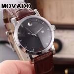 MOVADO-058-10 潮流商務男士兩針半閃亮銀黑底316精鋼錶殼進口石英腕錶