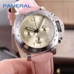 PN1199-13 時尚女士閃亮銀金底配粉色鱷魚紋錶帶進口石英腕錶