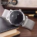MOVADO-058-2 潮流商務男士兩針半閃亮銀黑底316精鋼錶殼進口石英腕錶