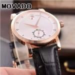 MOVADO-058-21 潮流商務男士兩針半土豪金白底316精鋼錶殼進口石英腕錶