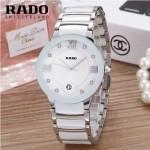 RADO-0118-4 潮流百搭情侶款白色陶瓷配閃亮銀進口石英腕錶