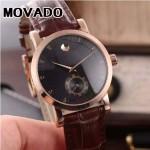 MOVADO-058-20 潮流商務男士兩針半土豪金黑底316精鋼錶殼進口石英腕錶