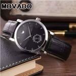 MOVADO-058-16 潮流商務男士兩針半閃亮銀黑底316精鋼錶殼進口石英腕錶