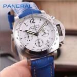 PN1199-14 時尚女士閃亮銀白底配藍色鱷魚紋錶帶進口石英腕錶