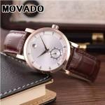 MOVADO-058-17 潮流商務男士兩針半土豪金白底316精鋼錶殼進口石英腕錶