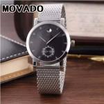 MOVADO-058-12 潮流商務男士兩針半閃亮銀黑底316精鋼錶殼進口石英腕錶