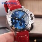 PN1199-6 時尚女士閃亮銀藍底配磨砂牛皮錶帶進口石英腕錶
