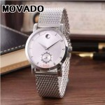 MOVADO-058-11 潮流商務男士兩針半閃亮銀白底316精鋼錶殼進口石英腕錶