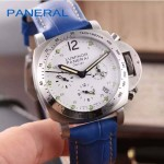 PN1199-8 時尚女士閃亮銀白底配藍色鱷魚紋錶帶進口石英腕錶