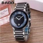 RADO-0118-3 潮流百搭情侶款黑色陶瓷配閃亮銀進口石英腕錶