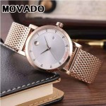 MOVADO-058-3 潮流商務男士兩針半土豪金白底316精鋼錶殼進口石英腕錶