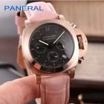 PN1199-24 時尚女士玫瑰金黑底配粉色鱷魚紋錶帶進口石英腕錶