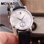 MOVADO-058-19 潮流商務男士兩針半閃亮銀白底316精鋼錶殼進口石英腕錶