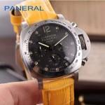 PN1199-7 時尚女士閃亮銀黑底配黃色鱷魚紋錶帶進口石英腕錶