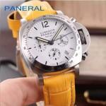 PN1199-12 時尚女士閃亮銀白底配黃色鱷魚紋錶帶進口石英腕錶