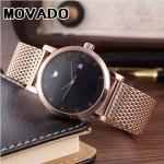 MOVADO-058-4 潮流商務男士兩針半土豪金黑底316精鋼錶殼進口石英腕錶