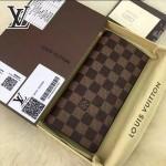 LV N63243-3 時尚商務男士BRAZZA咖色棋盤格原版皮長款西裝夾