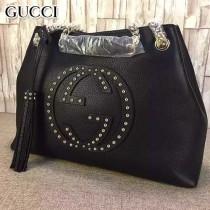 GUCCI 308982-09 專櫃最新款SOHO系列黑色全皮雙G鉚釘單肩斜挎包