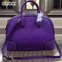 GUCCI 384688-9 秋冬季新款女士紫色全皮手提單肩包大號貝殼包