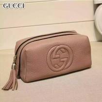 GUCCI 308636-3 輕便實用女士裸粉色全皮雙G大容量化妝包手拿包
