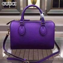 GUCCI 409529-8 人氣熱銷單品紫色全皮手提單肩包波士頓包