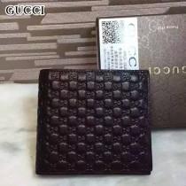 GUCCI 145754-3 時尚經典款男士咖色全皮壓小花兩折短款錢包