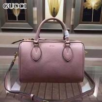 GUCCI 409529-7 人氣熱銷單品粉色全皮手提單肩包波士頓包