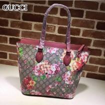 GUCCI 415721-3 歐美百搭天竺葵系列玫瑰紅皮配PVC單肩購物袋