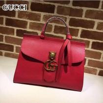 GUCCI 409155-4 OL白領必備時尚女士紅色全皮手提袋商務包