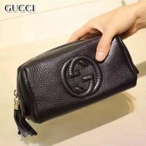 GUCCI 308636 輕便實用女士黑色全皮雙G大容量化妝包手拿包