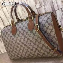 GUCCI 409527-3 潮流時尚女士棕色皮配PVC手提單肩包波士頓包