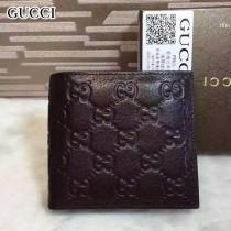 GUCCI 145754 時尚經典款男士咖色全皮壓花兩折短款錢包