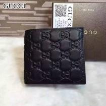 GUCCI 145754-2 時尚經典款男士黑色全皮壓花兩折短款錢包