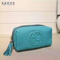 GUCCI 308636-2 輕便實用女士天藍色全皮雙G大容量化妝包手拿包