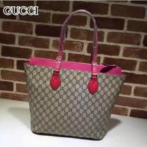 GUCCI 415721 歐美百搭新款紅色拼玫紅皮配PVC手提單肩包購物袋