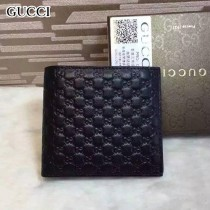 GUCCI 145754-4 時尚經典款男士黑色全皮壓小花兩折短款錢包