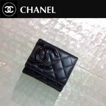 CHANEL 0205 人氣熱銷經典款康朋系列黑色原版皮短款三折錢包