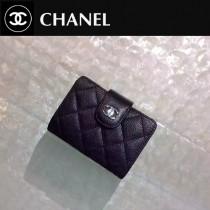 CHANEL 0211-4 秋冬新款實用黑色原版魚子醬皮銀扣多層風琴卡片夾