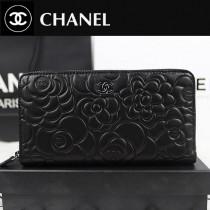 CHANEL A50085 歐美潮流時尚新款原版羊皮黑色配銀山茶花女士錢夾