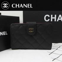 CHANEL A48667-02 歐美時尚新款原版球皮黑色女士錢包