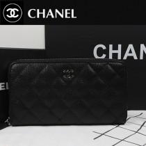 CHANEL A50097-04 歐美時尚新款原版球皮黑色銀扣女士錢包