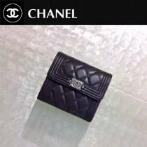 CHANEL 0200-2 歐美新款LEBOY系列黑色原版皮銀扣短款錢包